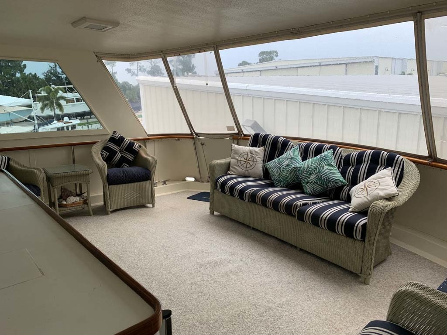 Hatteras-Euro Transom Motor Yacht 1989-Different Drummer II Stuart-Florida-United States-Aft Deck Sofa-1450017 | Thumbnail
