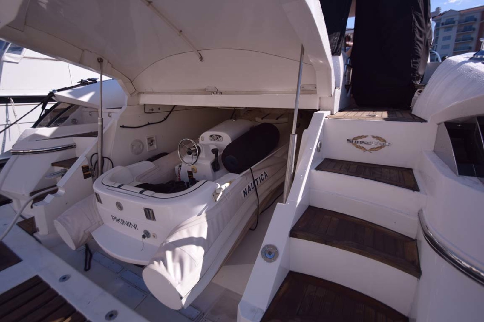 Sunseeker-Predator 2003-Low Profile PALM BEACH-Florida-United States-Tender In Garage From Stbd. Side-1576394 | Thumbnail