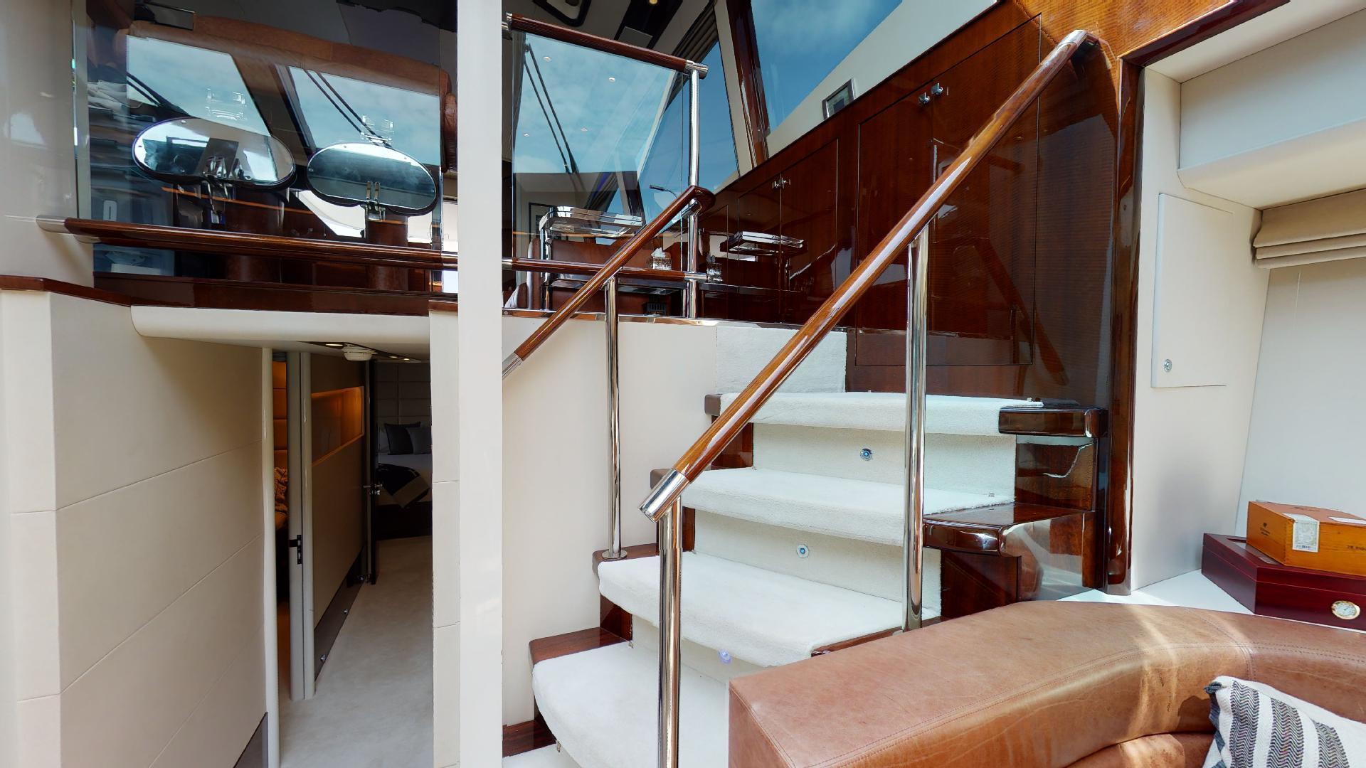 Lazzara-LSX 75 2009-MOJO Fort Lauderdale-Florida-United States-75 Lazzara Stairs to Galley-1462628 | Thumbnail