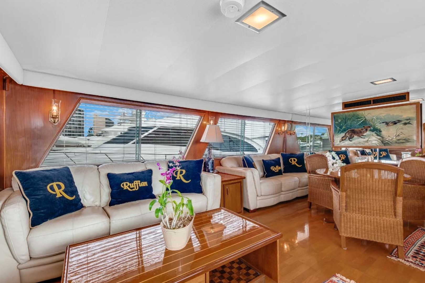 Hatteras-Motor Yacht 1985-Ruffian North Palm Beach-Florida-United States-Salon Settee-1463625 | Thumbnail
