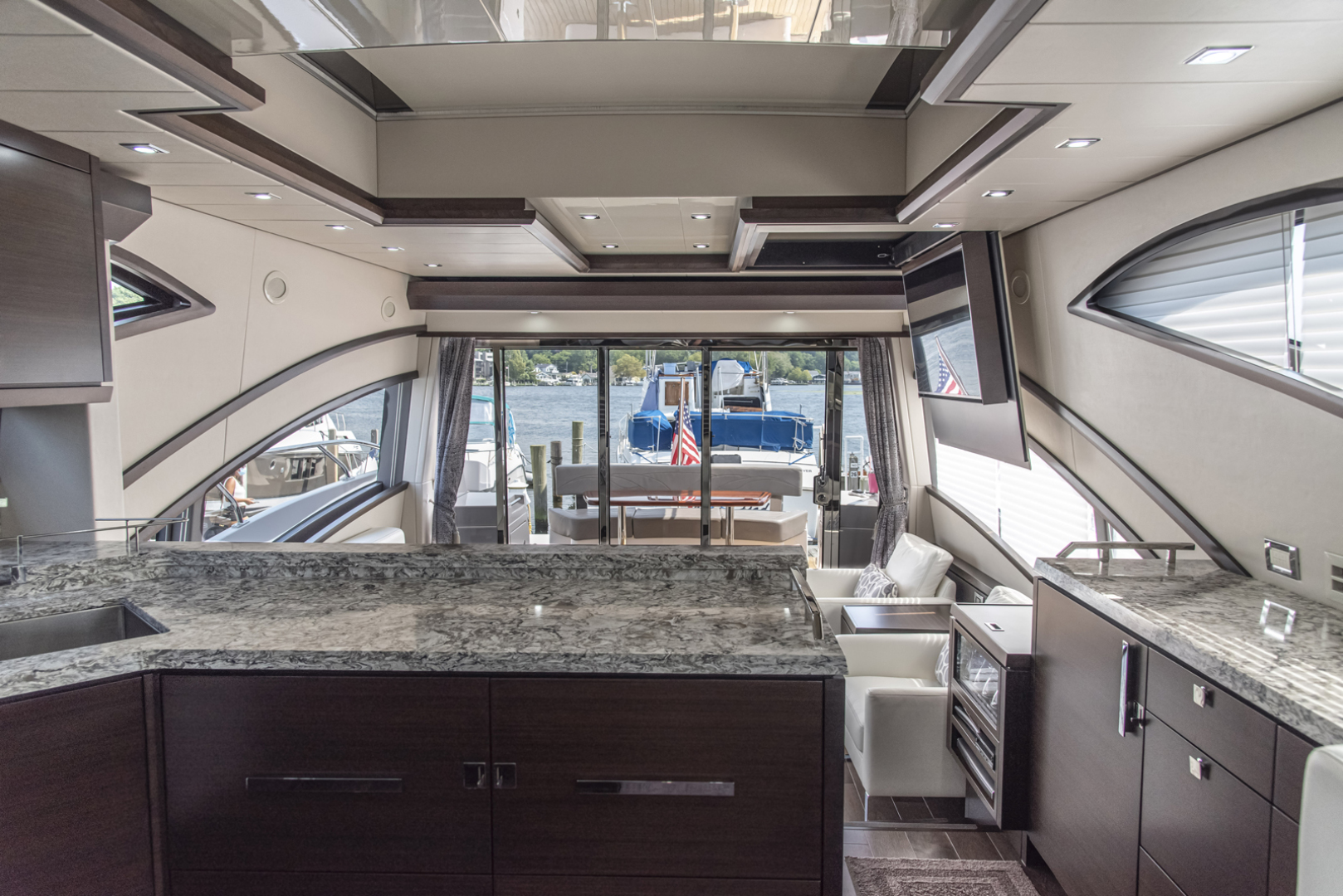 Neptunus-Motor Yacht Express 2018-LIQUID WISDOM Grand Haven-Michigan-United States-Galley looking aft-1484966 | Thumbnail
