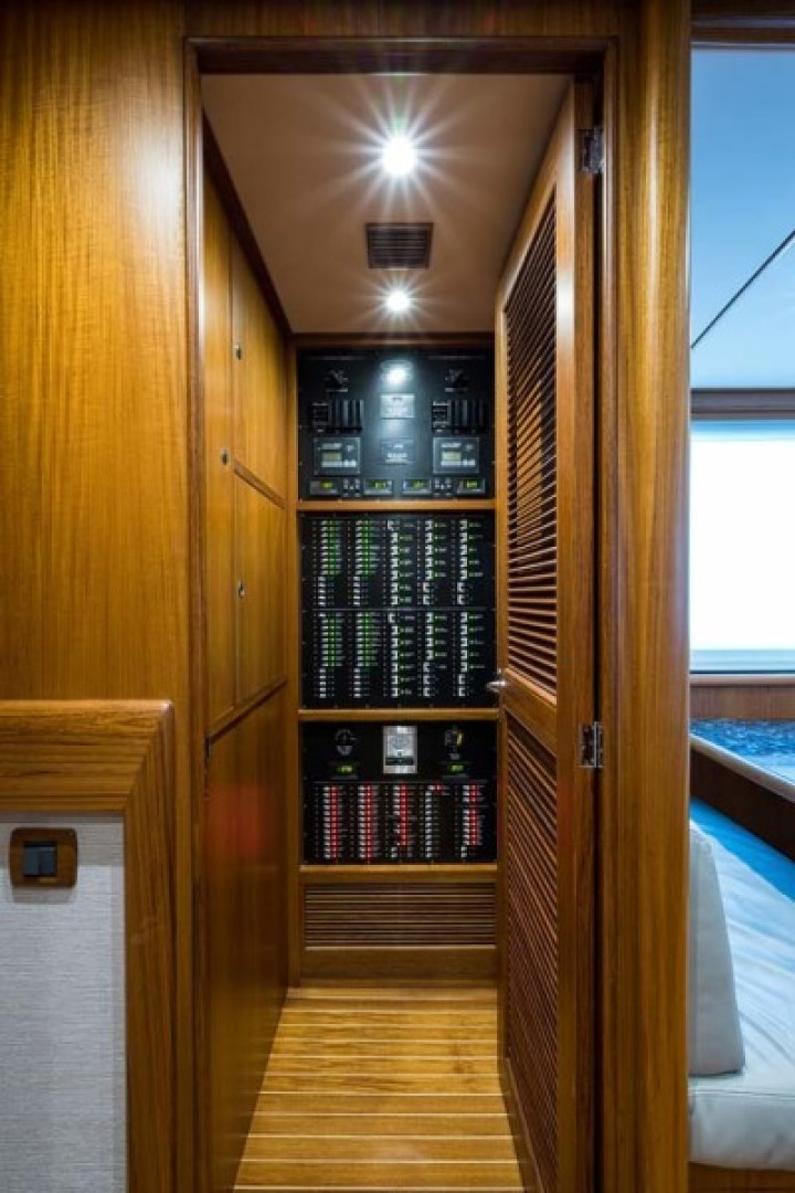 Rybovich-73 Convertible 2018-No Agenda North Palm Beach-Florida-United States-Forward of the Galley on Port and Starboard are the 2 Control rooms. They are both Air Conditioned with Teak and Holly Flooring. Portside is the Pantry/AV room and to Stb is the Electrical room-1486335 | Thumbnail