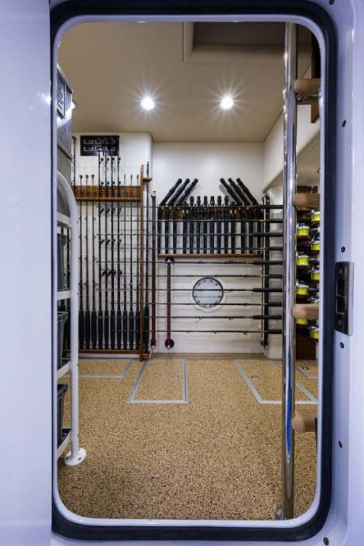 Rybovich-73 Convertible 2018-No Agenda North Palm Beach-Florida-United States-Tackle and Pump Room with Cork Hi Gloss Flooring-1486384 | Thumbnail
