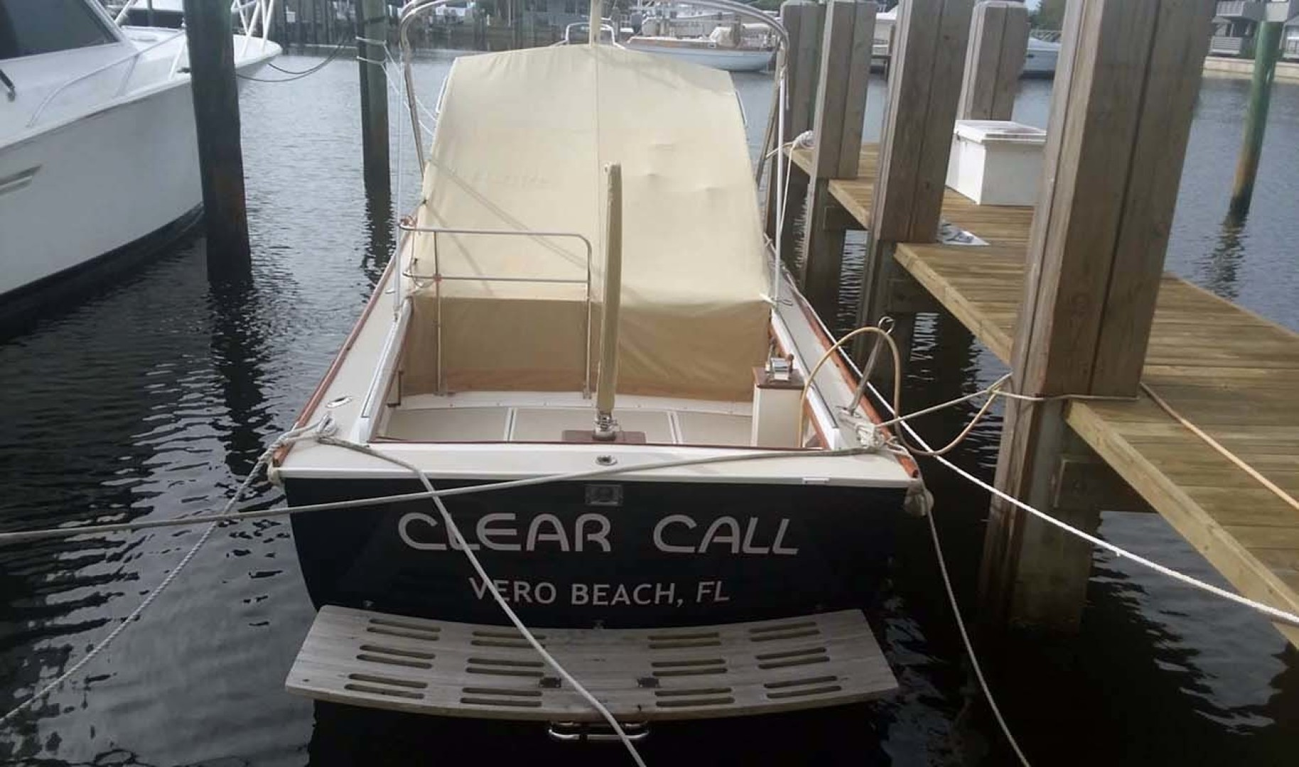 Dyer-29 Trunk Cabin Soft Top 1999-Clear Call Vero Beach-Florida-United States-Stern View with Cover-1509412 | Thumbnail