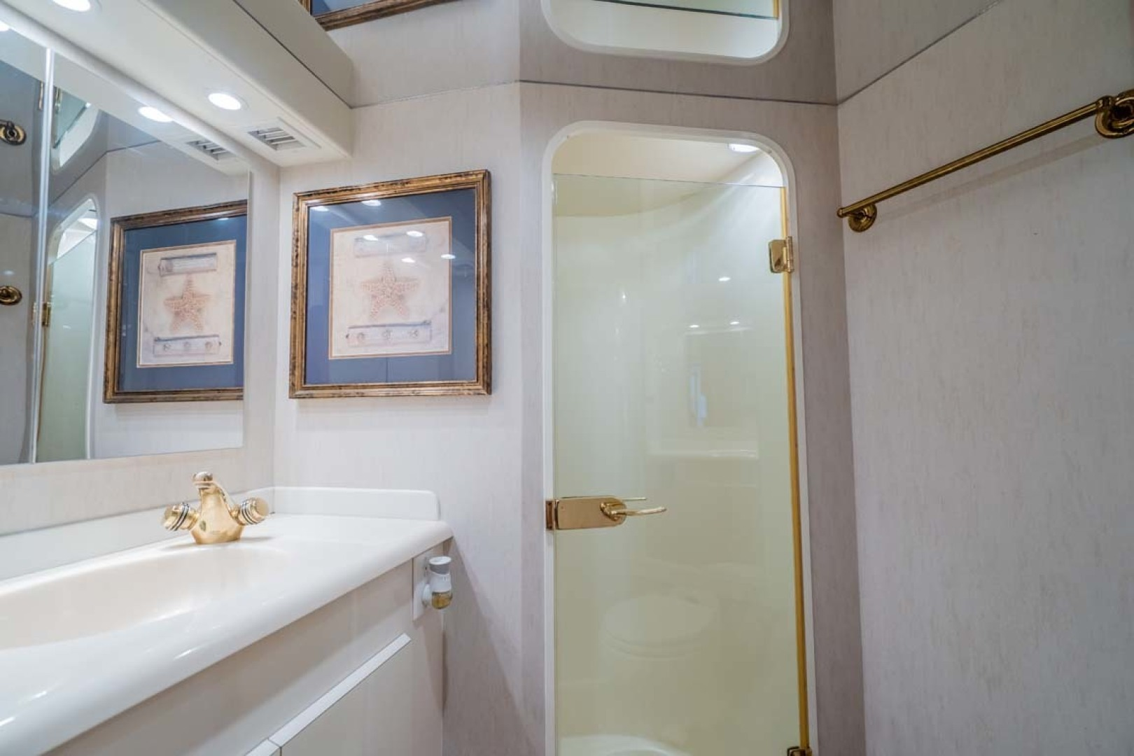 Viking-55 Convertible 2001-Wound Up Morehead City-North Carolina-United States-Master Head With Mirrored Vanity And Stall Shower-1509592 | Thumbnail
