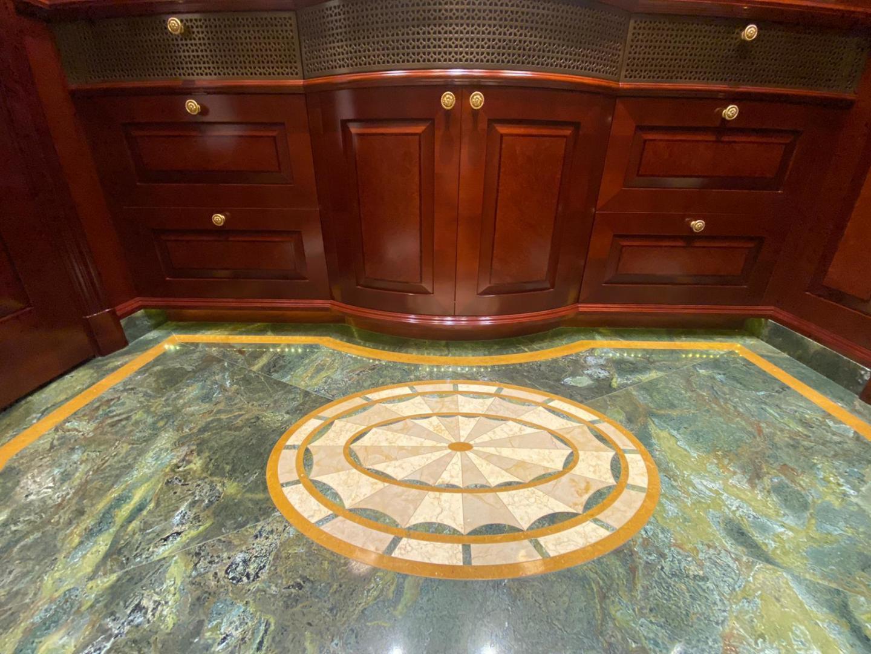 Trinity Yachts-164 Tri-deck Motor Yacht 2008-Amarula Sun Fort Lauderdale-Florida-United States-Marble Inlay Detail Master Bathroom-1515866 | Thumbnail