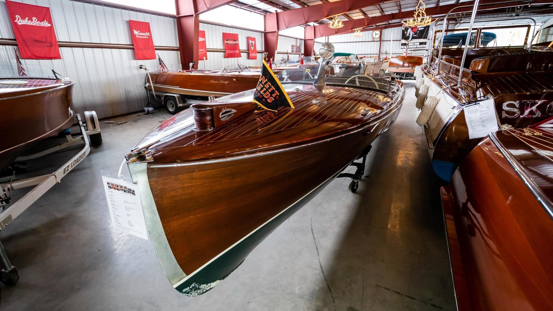 Antique-Minett Sheilds Triple Cockpit Runabout 1936-Regoda Clayton-New York-United States-1536170 | Thumbnail