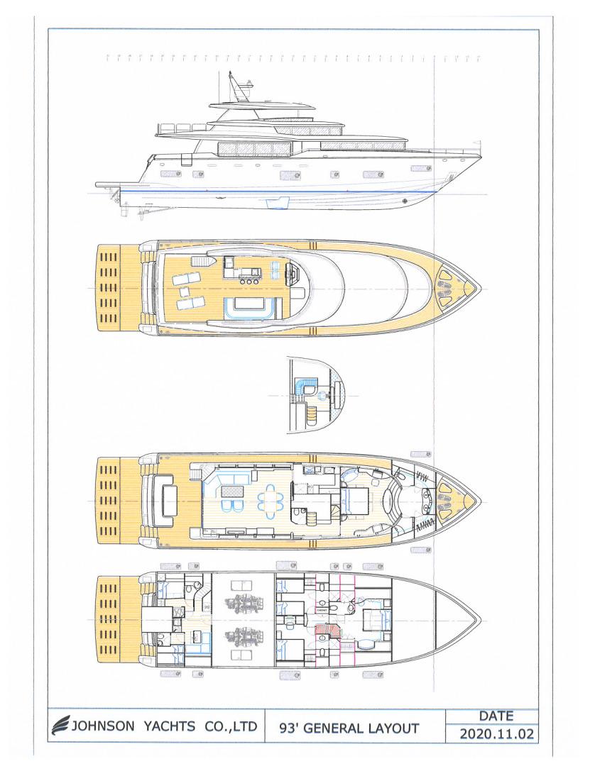 Johnson-Flybridge w/Hydraulic Platform 2022-JOHNSON 93 OPEN FB Taiwan-General Arrangement-1559112 | Thumbnail