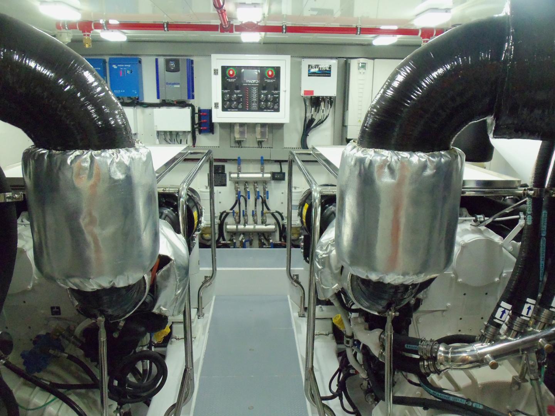 Johnson-Flybridge w/Hydraulic Platform 2022-JOHNSON 93 OPEN FB Taiwan-Engine room looking forward-1559100 | Thumbnail