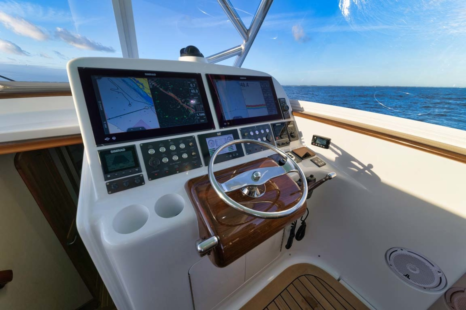 Winter Custom Yachts-46 Walkaround 2019-Family Circus Stuart-Florida-United States-Teak Helm Pod with Palm Beach Style Single Lever Controls and Bow Thruster Integration-1563754 | Thumbnail
