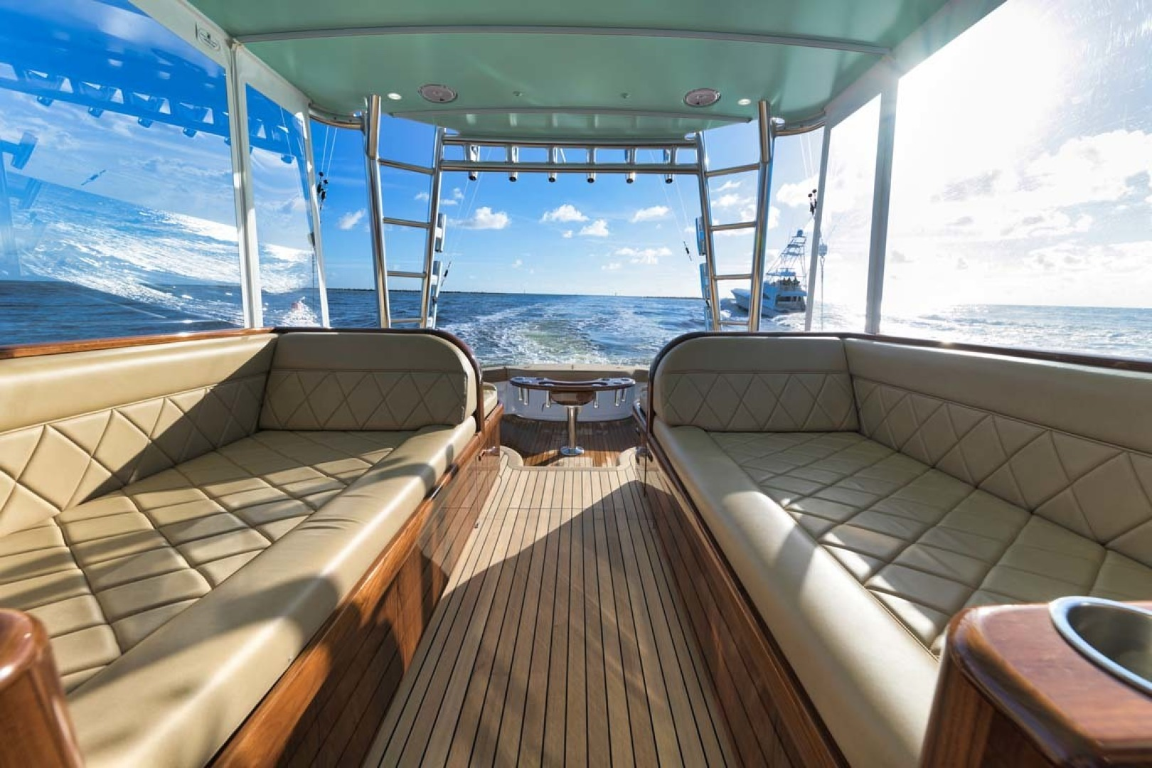 Winter Custom Yachts-46 Walkaround 2019-Family Circus Stuart-Florida-United States-Diamond Stitched Ultra-Leather Upholstery and Storage Below-1563760 | Thumbnail