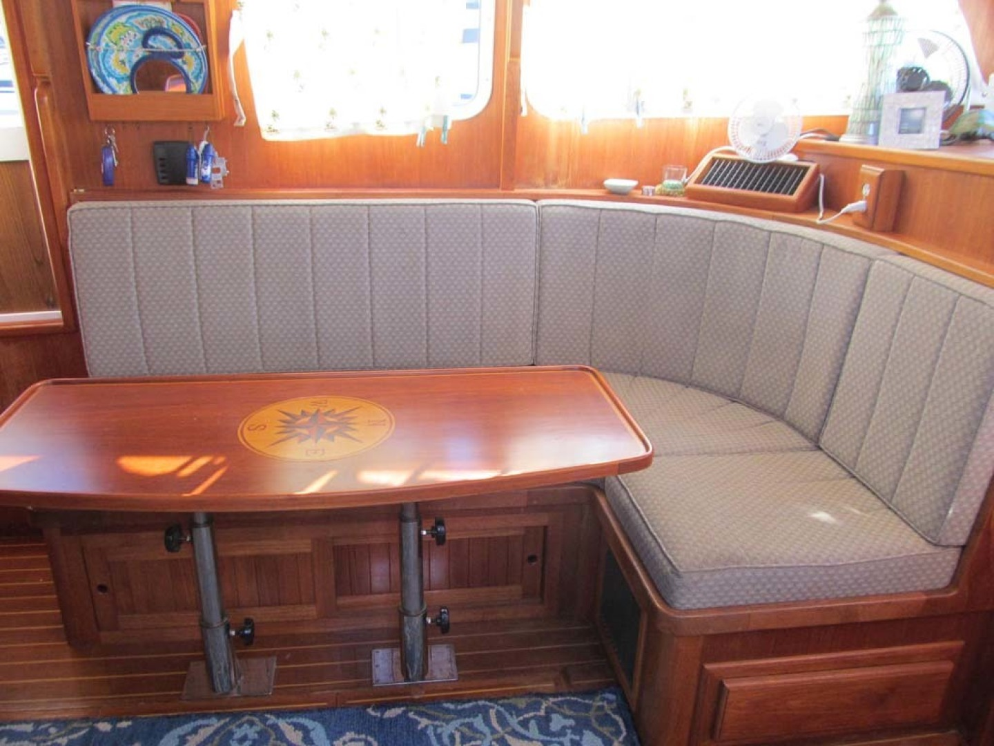 Monk-36 Trawler, Replaced Fuel Tanks 2003-One Fine Day New Bern-North Carolina-United States-Salon Settee And Table-1569148   Thumbnail