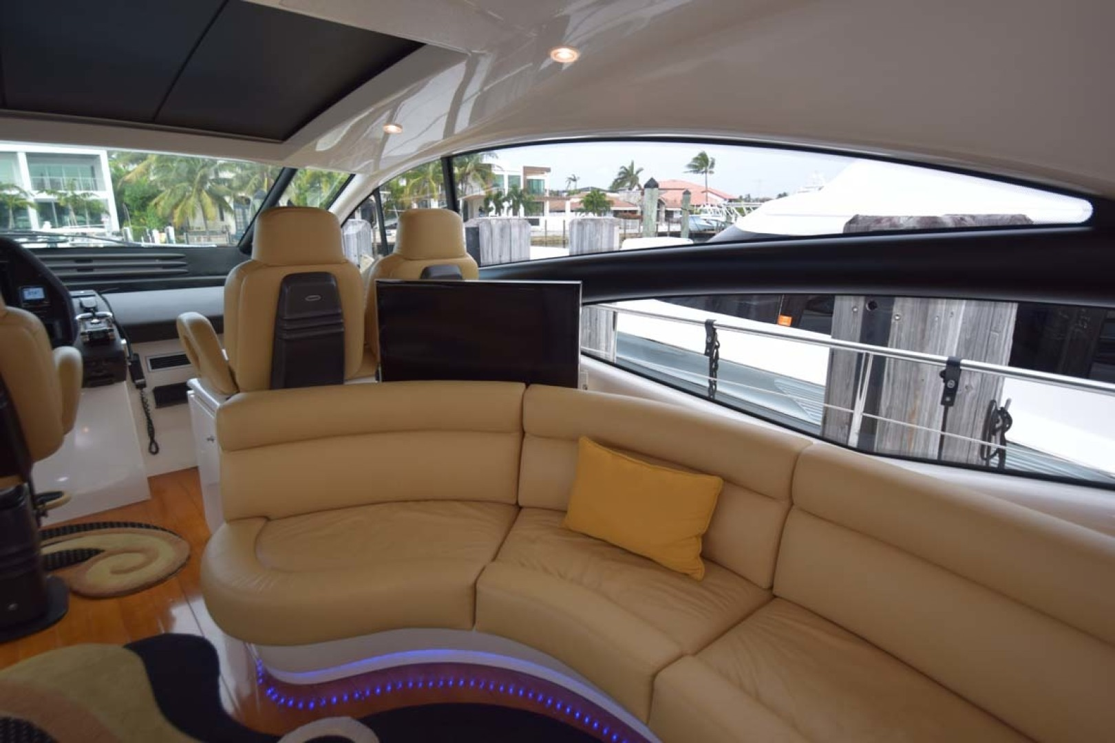 Pershing-62 2007-CHOPIN Lighthouse Point-Florida-United States-Salon Seating Behind Helm With POP Up TV Up-1625709 | Thumbnail