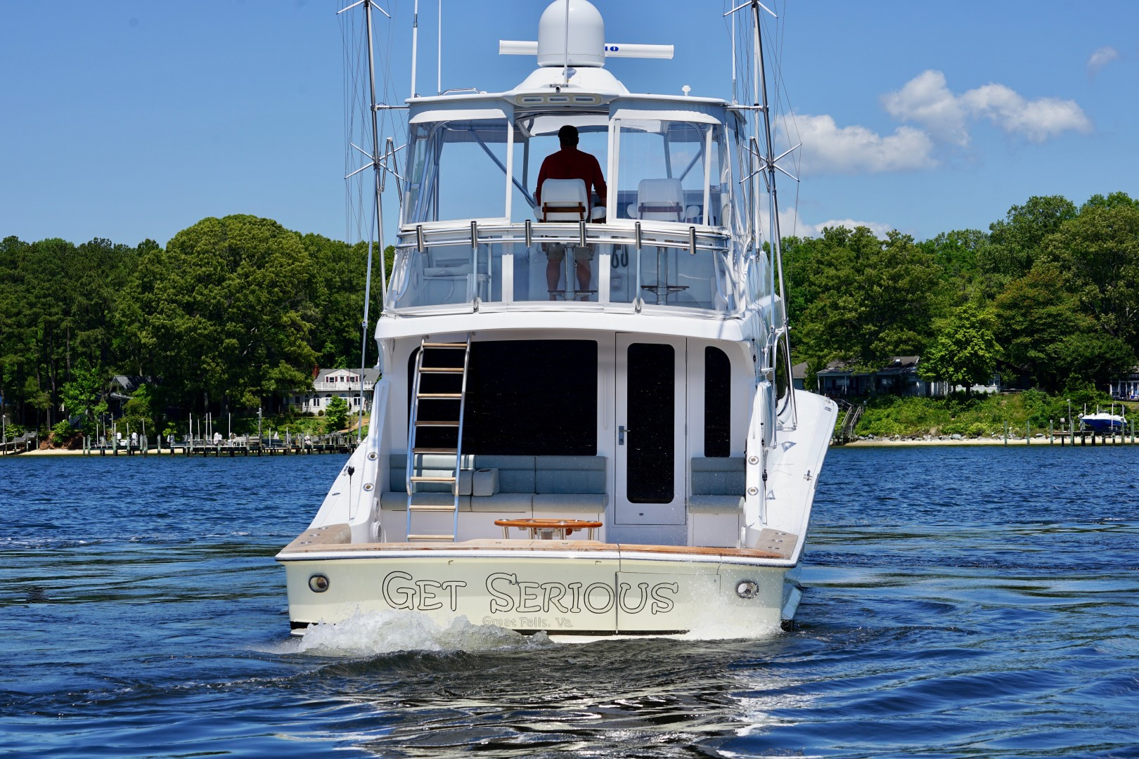Hatteras 54 - Get Serious - Aft Profile