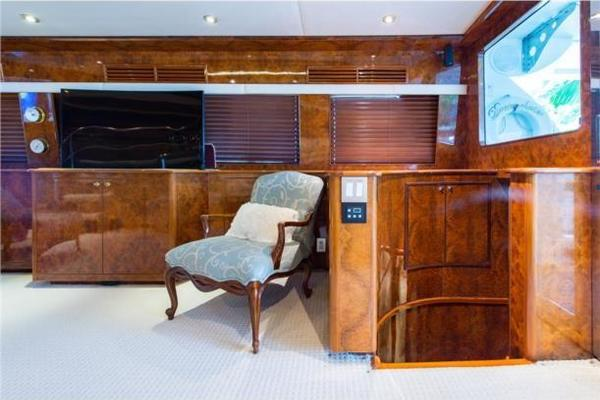Salon portside aft, TV up, stairs to aft stateroom