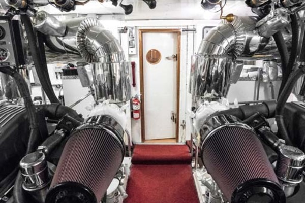 Engine Room with Fishing Poles Overhead