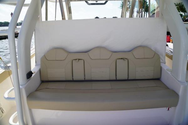 Aft view white Yamaha motors