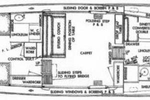 45' Chris-craft Flybridge Motor Yacht 1953 Layout