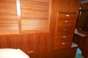 57' Wellington Pilothouse 1989 Cedar hanging lockers - drawers port