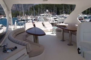 68' Lazzara 68 Pilothouse Motoryacht 2005 Flybridge aft before teak decking