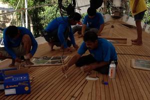 75' Naval Yachts Schooner 1980 Teak Decks being laid in Thailand