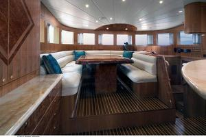83' Johnson Flybridge W/fishing Cockpit 2020 Forward dining area