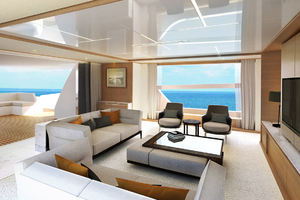 115' Johnson SKYLOUNGE w/FB w/ON-DECK MASTER 2020 Salon - Interior by Design Unlimited