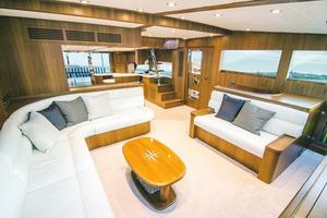 83' Johnson Flybridge W/hydraulic Platform 2020 Salon Looking Aft