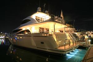 83' Johnson Flybridge w/Hydraulic Platform 2020 Night Shot