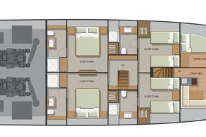 92' Johnson Flybridge W/on-deck Master 2020 Lower deck layout