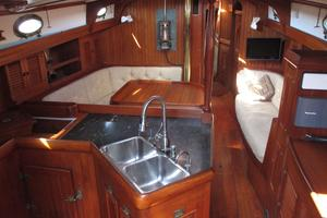 43' Hans Christian Traditional 1985 Looking forward from galley