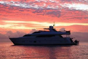 97' Horizon 97 Motoryacht With Raised Pilothouse And Skylounge 2011 Starboard View at Sunset
