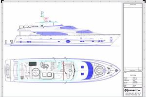 97' Horizon 97 Motoryacht With Raised Pilothouse And Skylounge 2011 Layout Drawing