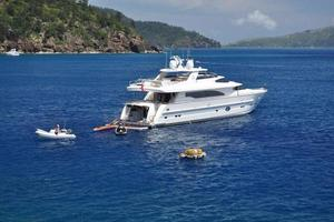 97' Horizon 97 Motoryacht with Raised Pilothouse and Skylounge 2011 Full Height Stern Door