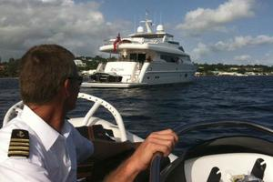 97' Horizon 97 Motoryacht With Raised Pilothouse And Skylounge 2011 Stern View
