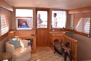 75' Burger Raised Pilothouse 1958 Main Salon with TV Up