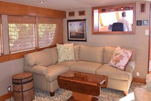 75' Burger Raised Pilothouse 1958 Main Salon View to Wheelhouse