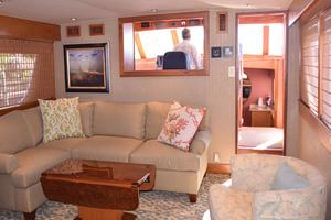 75' Burger Raised Pilothouse 1958 Main Salon to Wheelhouse Peeking into Galley