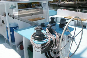 50' Custom Day Sail Charter 50 1984 Next Wave helm