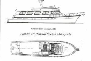 77' Hatteras Cockpit Motoryacht 1987 Layout