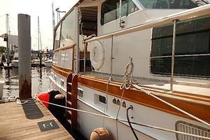 58' Trumpy motor yacht 1970 Boarding