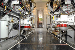 76' Offshore Yachts Motoryacht 2010 Engine Room looking aft