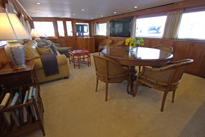 102' Palmer Johnson Cockpit Motoryacht 1980 Main Salon Facing Aft