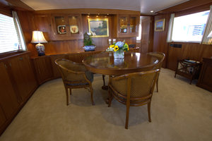102' Palmer Johnson Cockpit Motoryacht 1980 Main Salon Dining Table Forward
