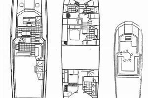 74' Hatteras Motoryacht Sport Deck 1996 Layout