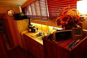 46' Bertram Motor Yacht 1974 Galley starboard side one step down