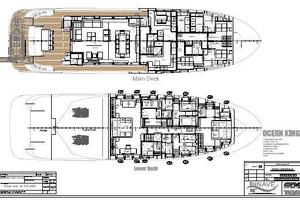 101' Ocean King Americana 2019 Layout, Main and Lower Decks