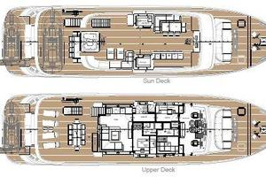 101' Ocean King Americana 2020 Layout, Sun and Upper Decks