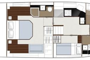 49' Sealine F490 2013 Manufacturer Provided Image: Sealine F490 Layout Option Lower Deck Bunks