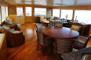 100' Broward Raised Pilothouse 2000 Dining & Salon looking Aft